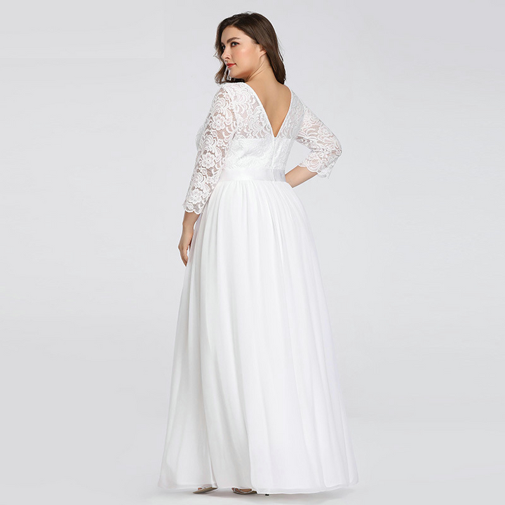 Women's Lace O-Neck Long Wedding Dress With Sashes