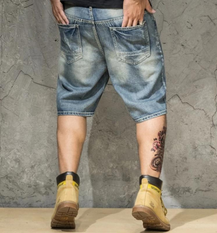 Men's Ripped Denim Straight Shorts | Plus Size
