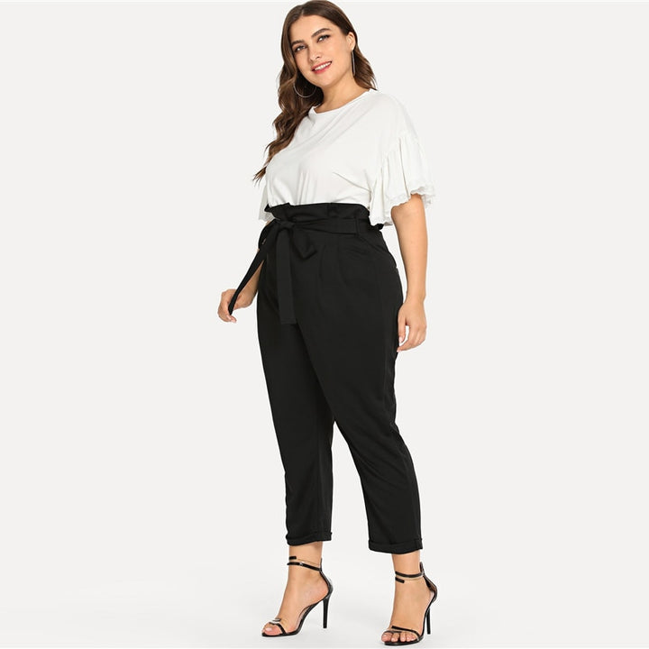 Women's Spring Casual High Waist Belted Pants | Plus Size