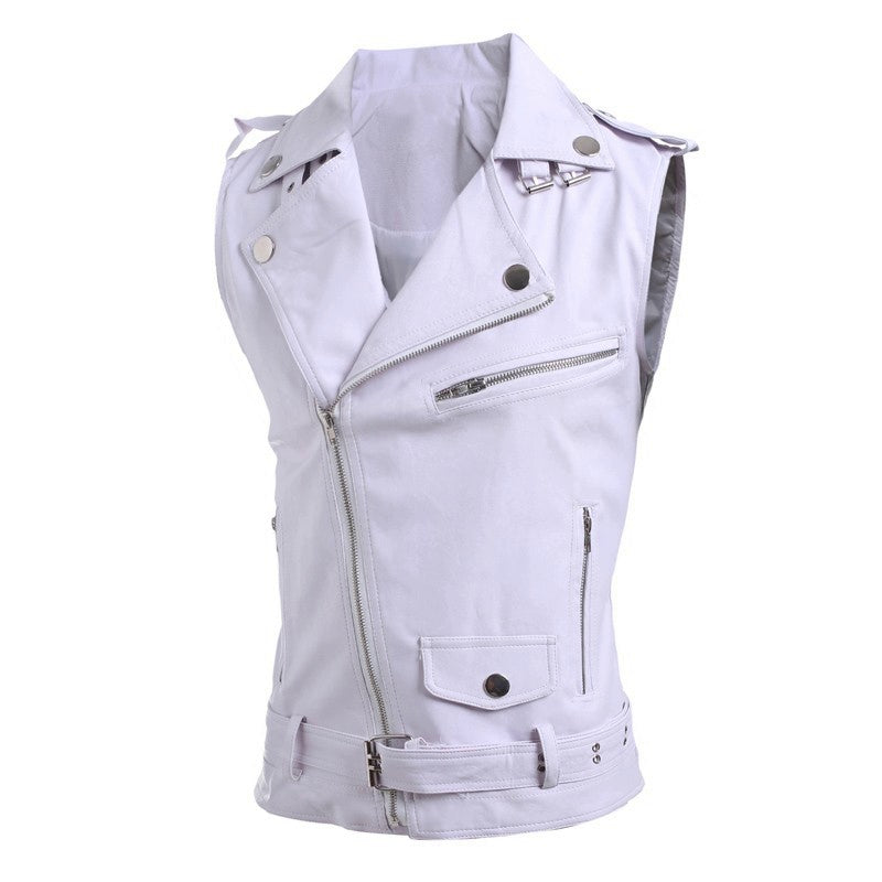 Men's Leather Vest With Zippers