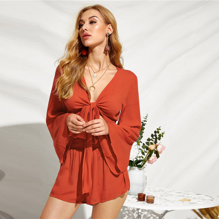 Women's Summer Rayon Long-Sleeved V-Neck Two-Piece Romper