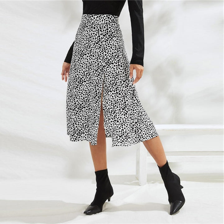 Women's Polyester Mid-Waist Midi Skirt With Zipper