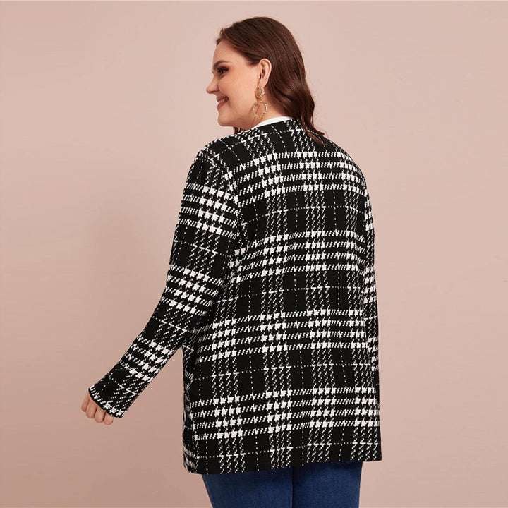 Women's Spring Casual O-Neck Cardigan With Plaid Print | Plus Size