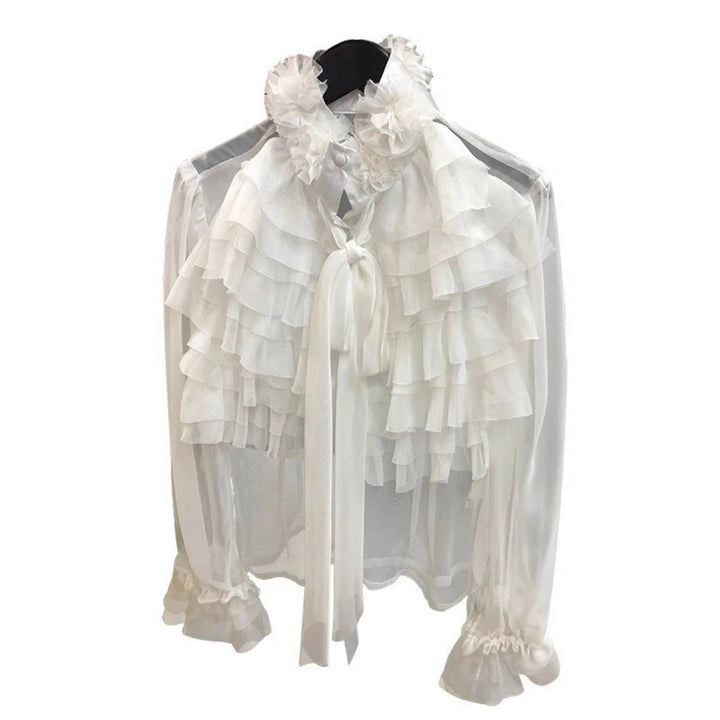 Women's Spring Polyester Long-Sleeved Ruffle Blouse