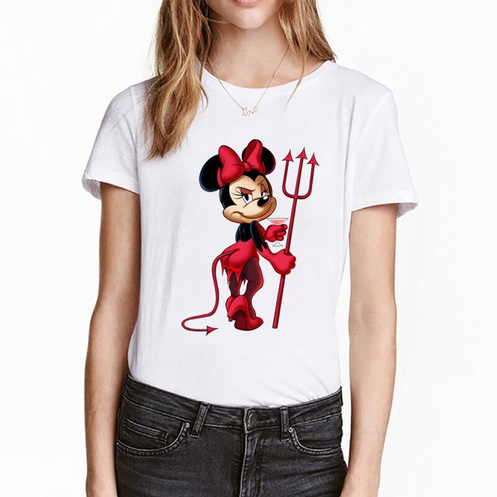Women's Summer Casual Short-Sleeved O-Neck T-Shirt With Cartoon Print