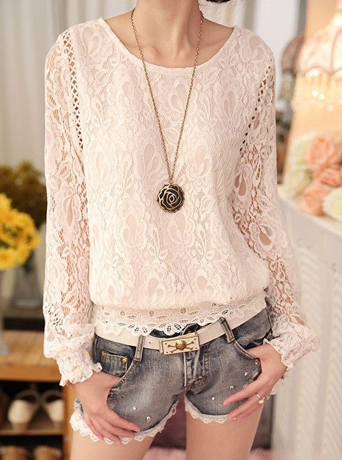 Chiffon O-Neck Blouse With Long Sleeves - Zorket