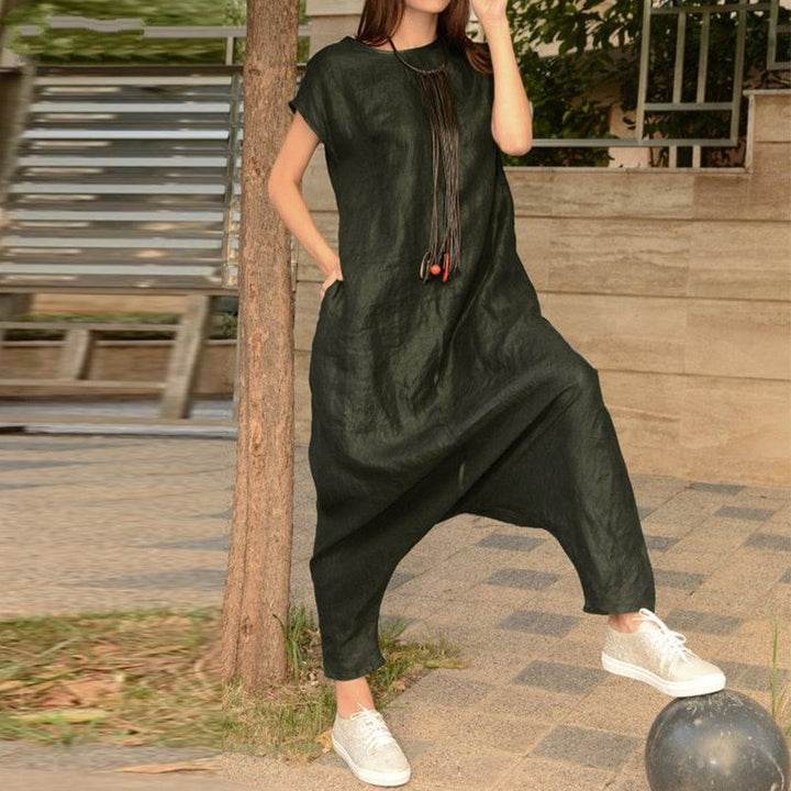 Women's Summer Casual Polyester Short-Sleeved Loose Jumpsuit