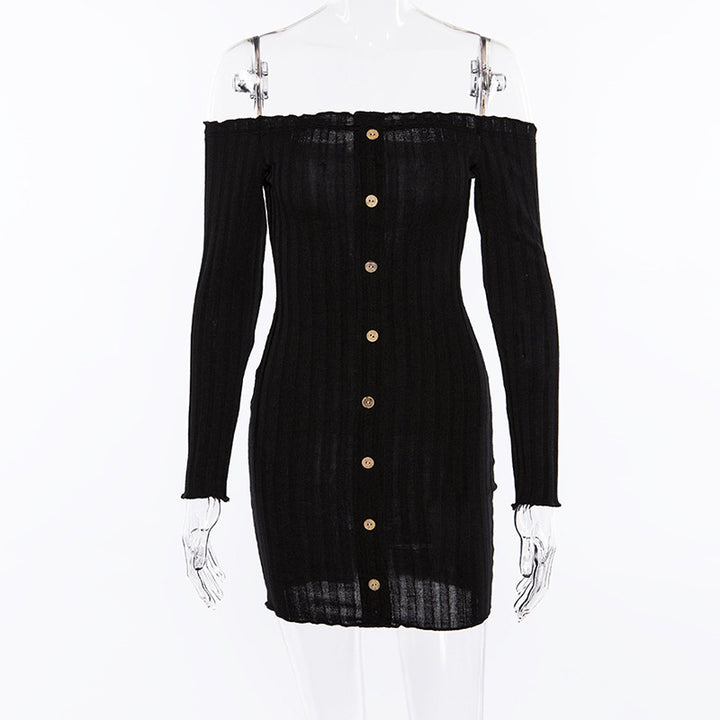 Women's Autumn Slash-Neck Long-Sleeved Sheath Dress With Decorative Buttons