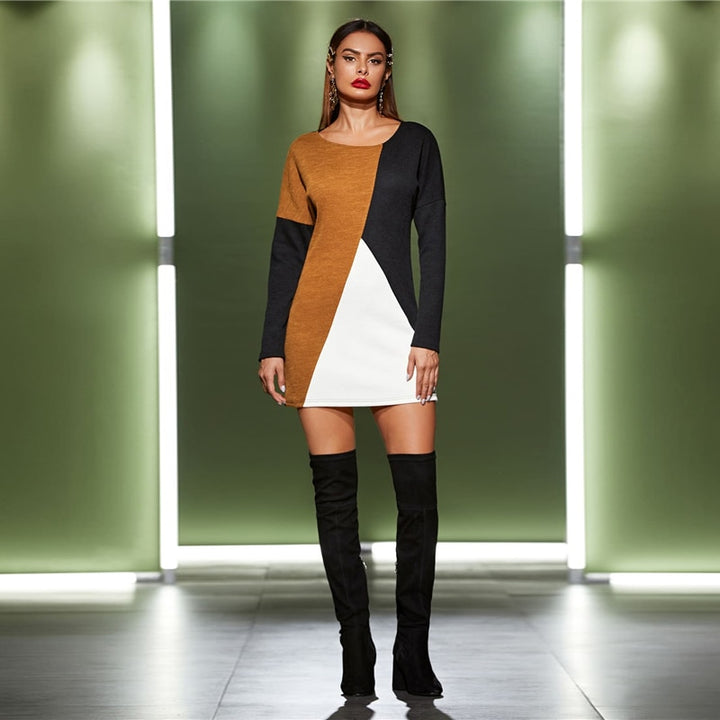 Women's Autumn Casual Loose Mini Sweater Dress