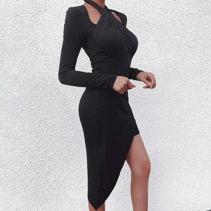 Women's Autumn Long Sleeve Irregular Bodycon Mini Dress