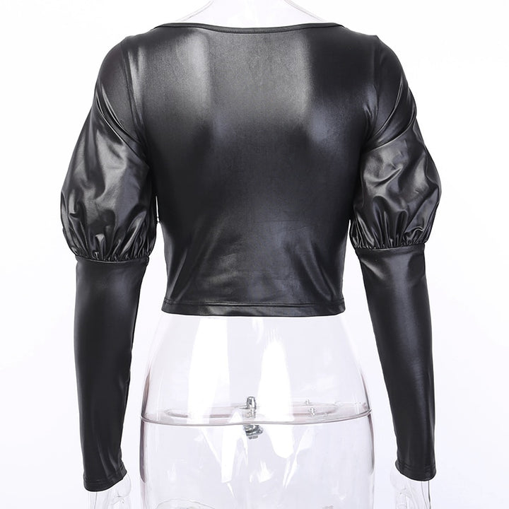 Women's Faux Leather Ruched Elastic Cropped Blouse