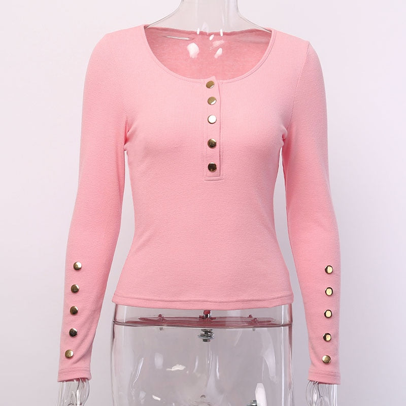 Women's Autumn/Winter Slim Long Sleeve Elastic Ribbed T-Shirt