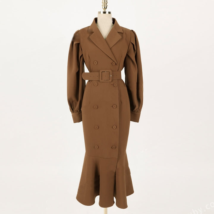 Women's Spring/Autumn Slim Polyester Trench