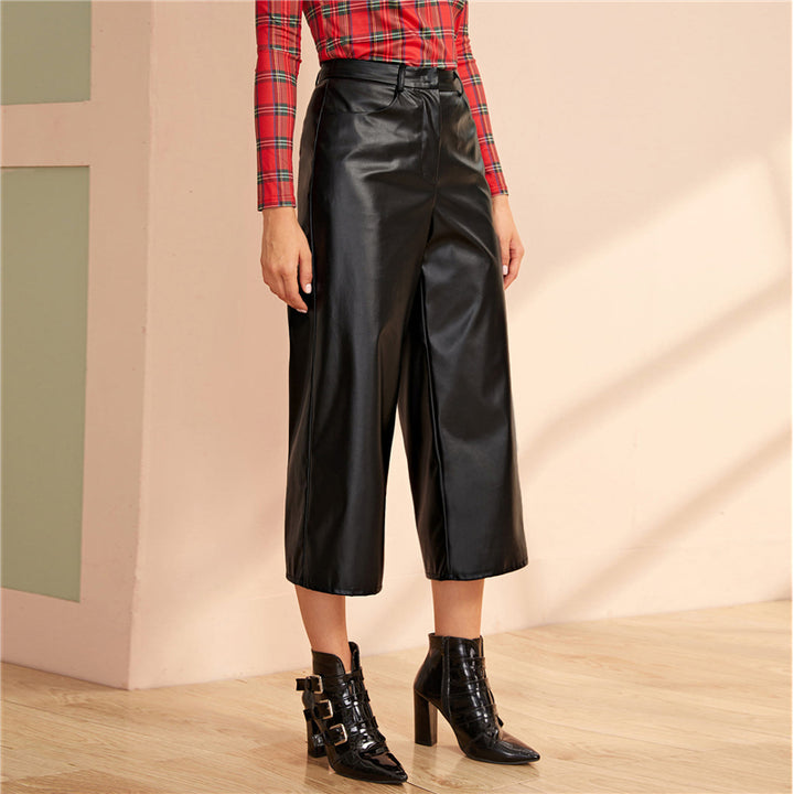 Women's PU Leather Thin Loose Capris