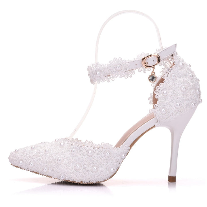 Women's Lace Pumps With Ankle Strap