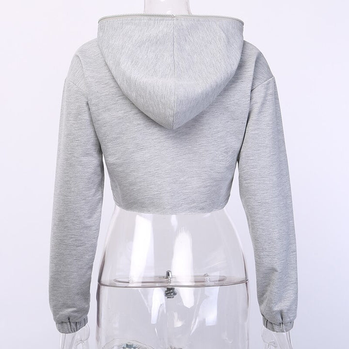 Women's Autumn Zipper Long Sleeve Cropped Hoodie