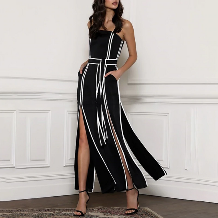 Women's Spring Polyester Striped High-Waist Sleeveless Jumpsuit