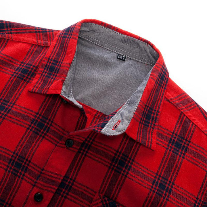 Men's Autumn Cotton Plaid Long Sleeved Shirt