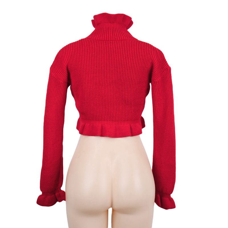 Women's Autumn/Winter Casual Knitted Crop Top With Ruffles