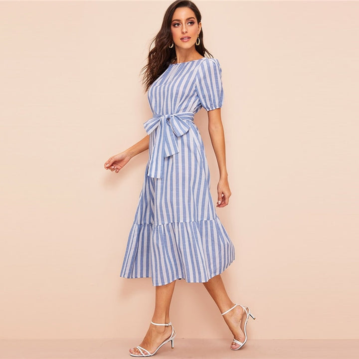 Women's Summer Belted Dress With Vertical Stripe Print