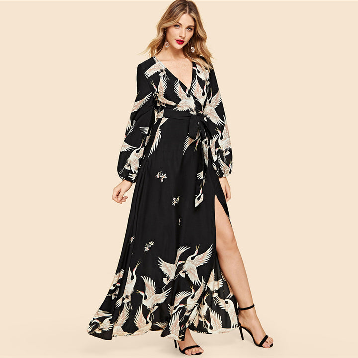 Women's Spring Casual V-Neck Maxi Dress With Crane Print