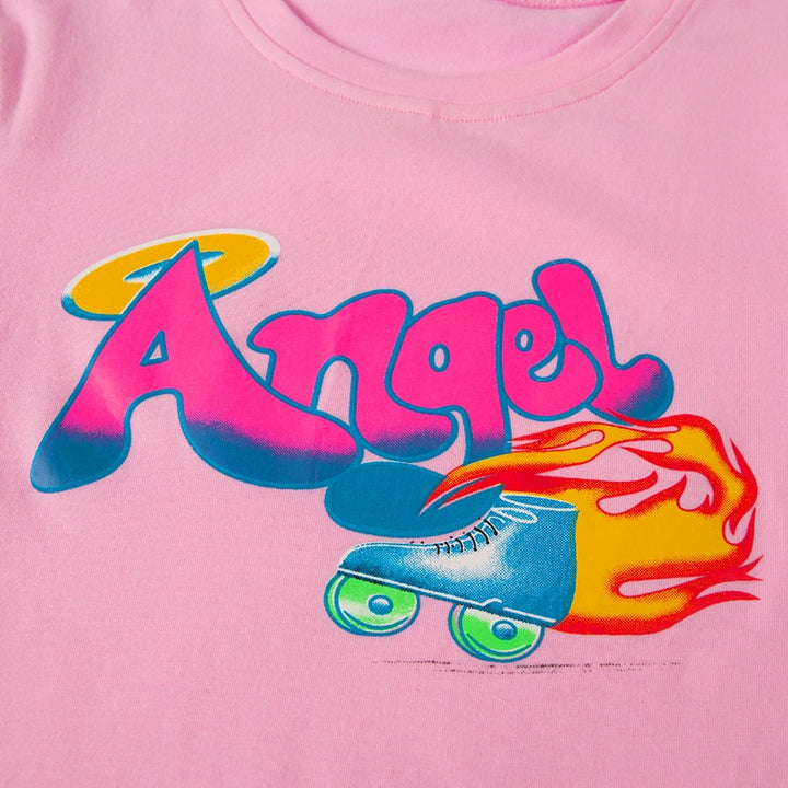 "Women's Summer Casual O-Neck Cotton T-Shirt ""Angel"""