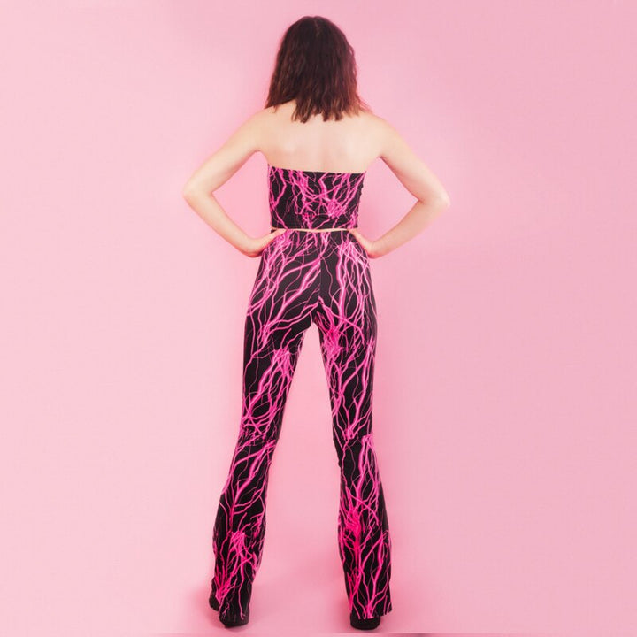Women's Printed Wide Leg Two-Piece Jumpsuit
