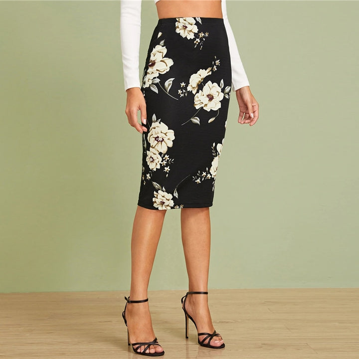 Women's Pencil Slim High-Waist Skirt With Floral Print