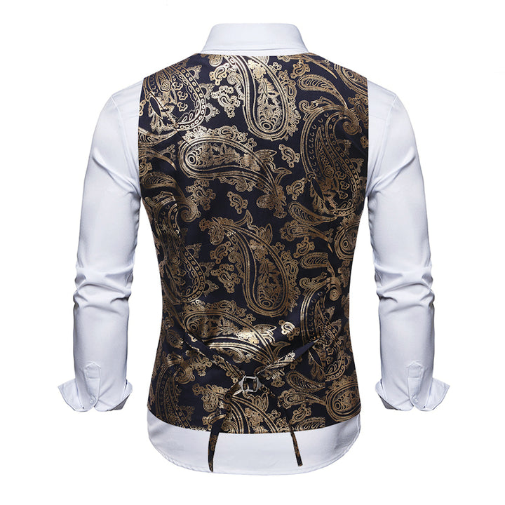 Men's Casual Single Breasted Vest With Print
