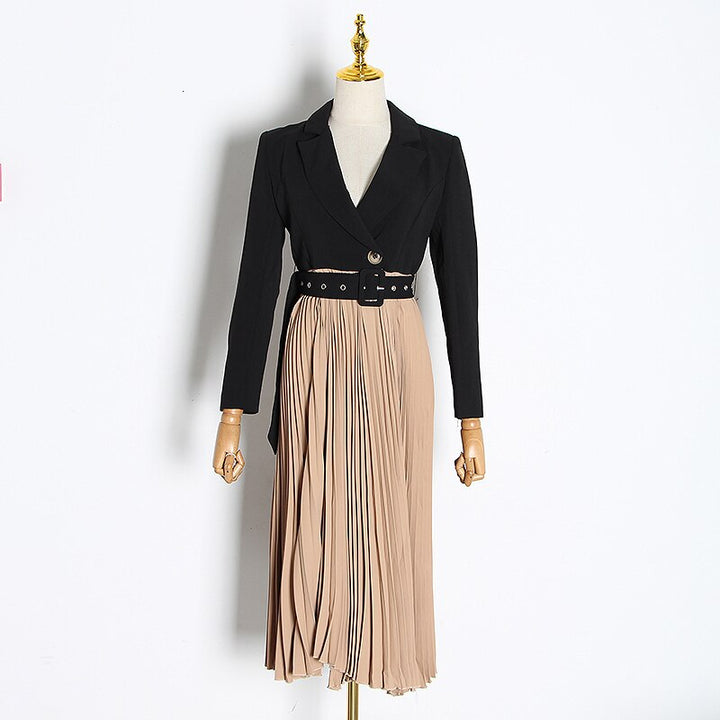 Women's Spring Casual Patchwork High-Waist Dress With Sashes