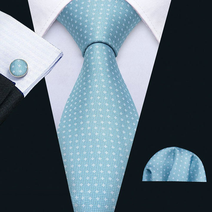 Men's Silk Tie With Cufflinks And Handkerchief