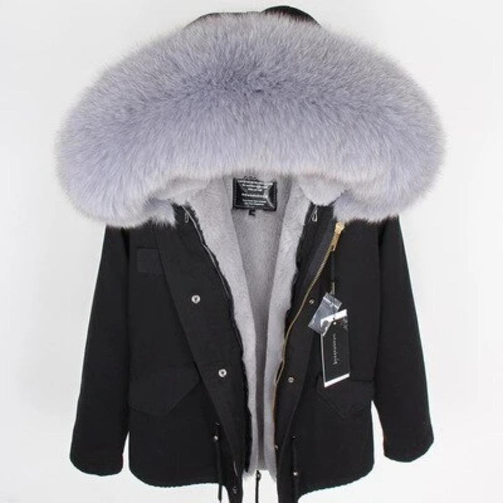Women's Winter Casual Slim Thick Parka With Raccoon Fur