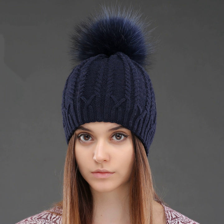 Women's Winter Knitted Wool Hat With Pompom