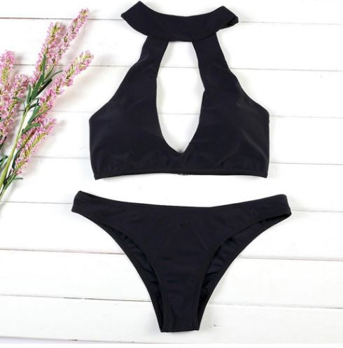Women's Summer Neck Slim Hollow Set Bikini Swimwear