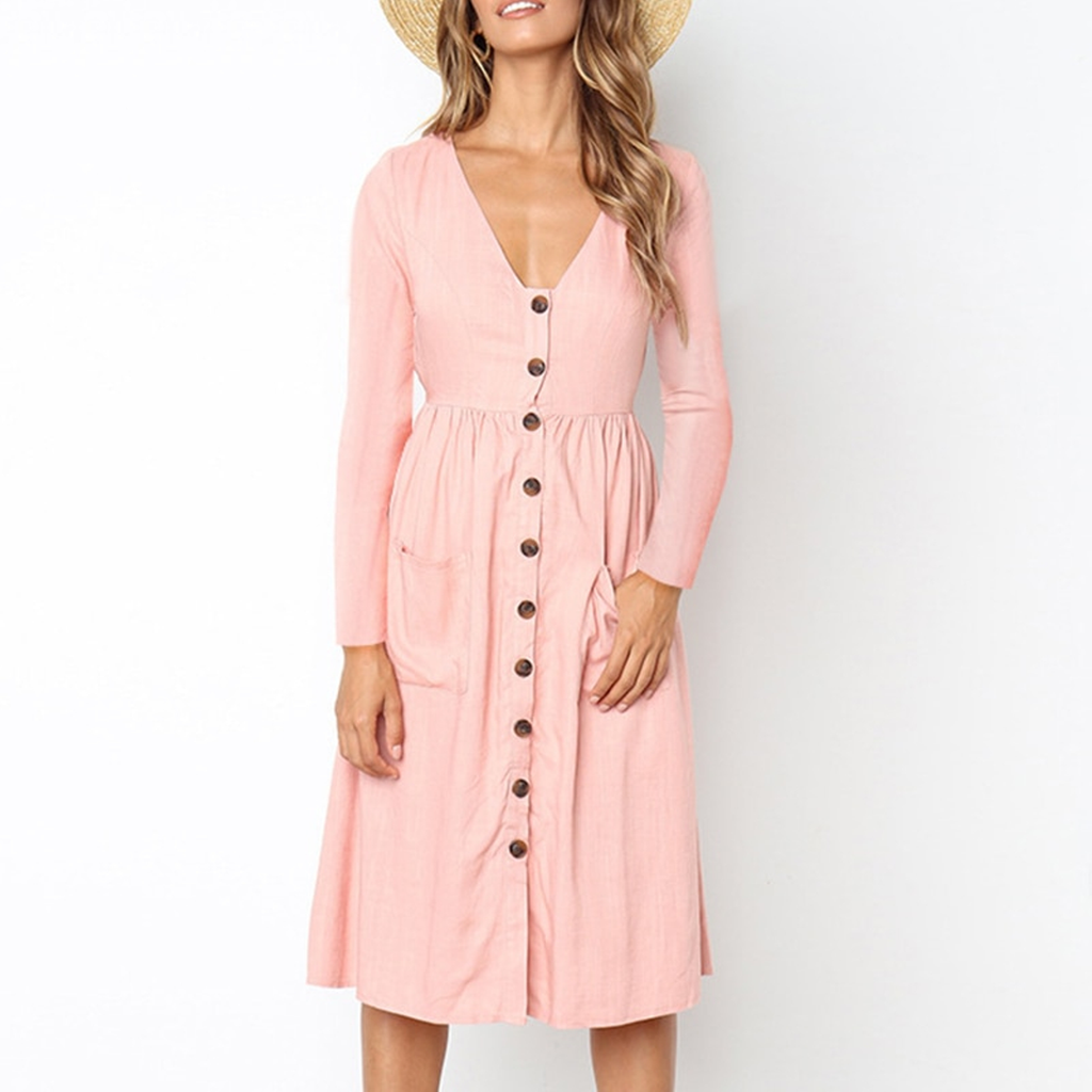 Women's Autumn Casual Solid V-Neck Long Sleeve Dress