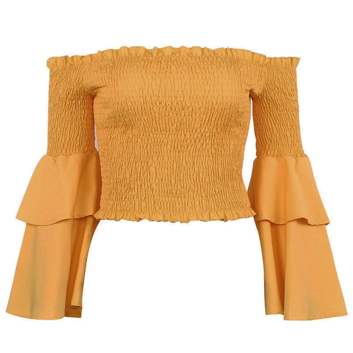 Women's Ruffle Off Shoulder Chiffon Crop Top