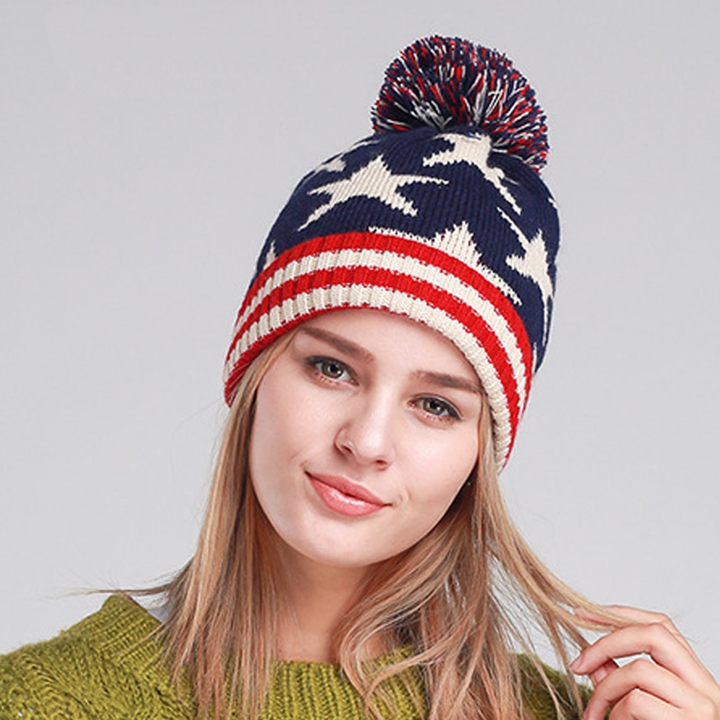 Women's Winter Warm Stretchy Hat With Pompom