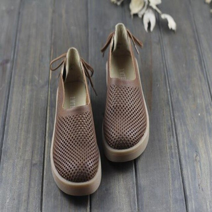 Women's Summer Hollow Out Breathable Genuine Leather Flats