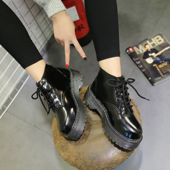 Women's Autumn/Winter Platform Leather Ankle Boots