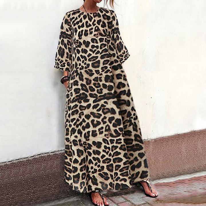 Women's Casual Leopard Loose Maxi Dress | Plus Size
