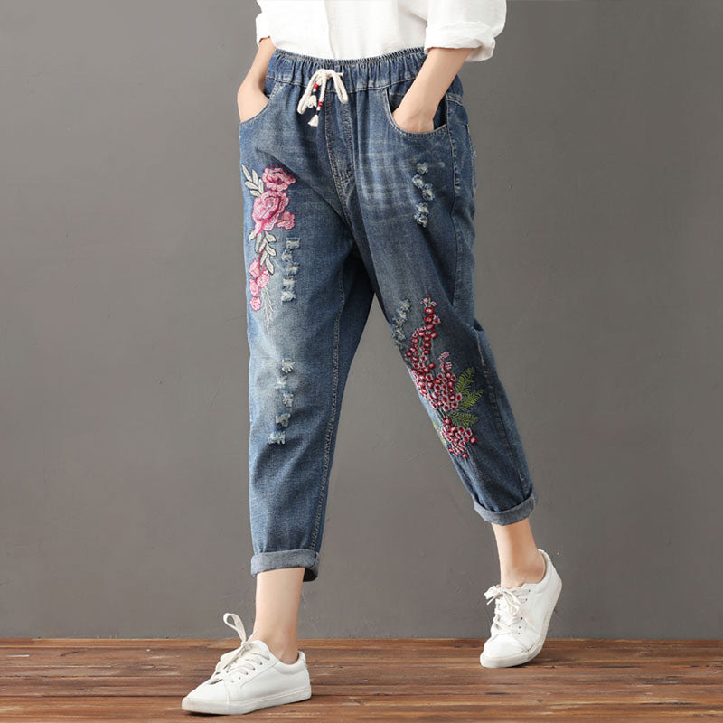 c4e5f23ed4c Women s Autumn Loose Harem Jeans With Floral Embroidery