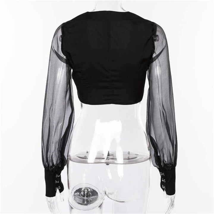 Women's Summer Cropped Blouse With Mesh Lantern Sleeves