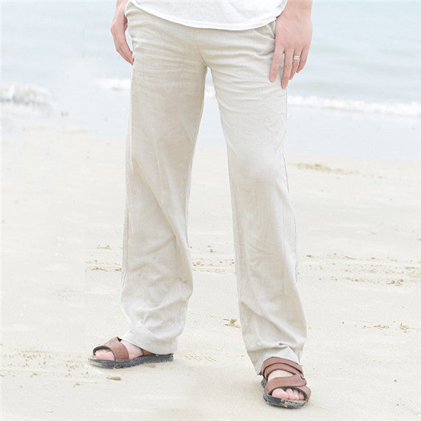 11c8960c98df Men s Summer Natural Cotton Linen Trousers