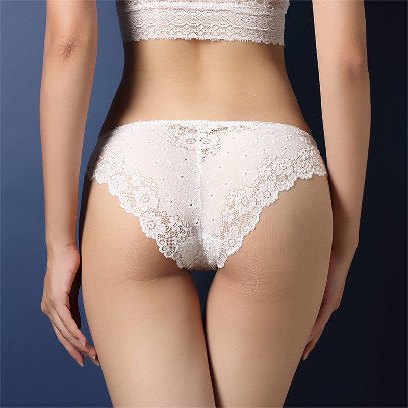 Women's Lace Transparent Low Waist Panties - Zorket