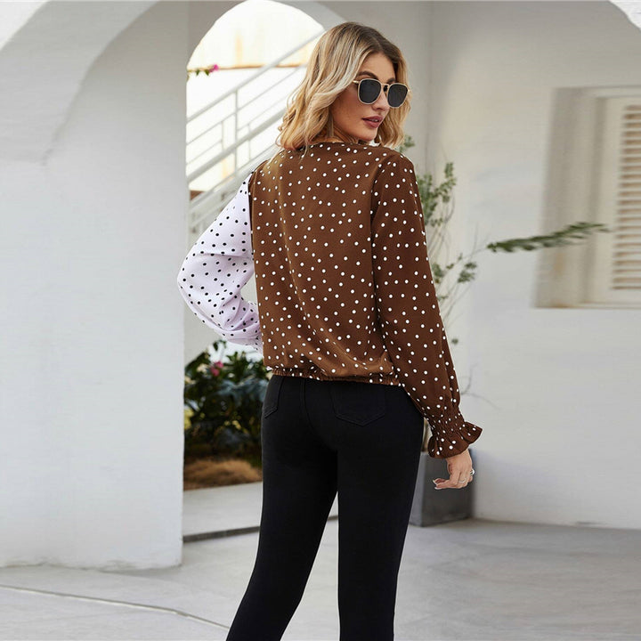 Women's Autumn Casual Long Sleeve V-Neck Polka Dot Blouse