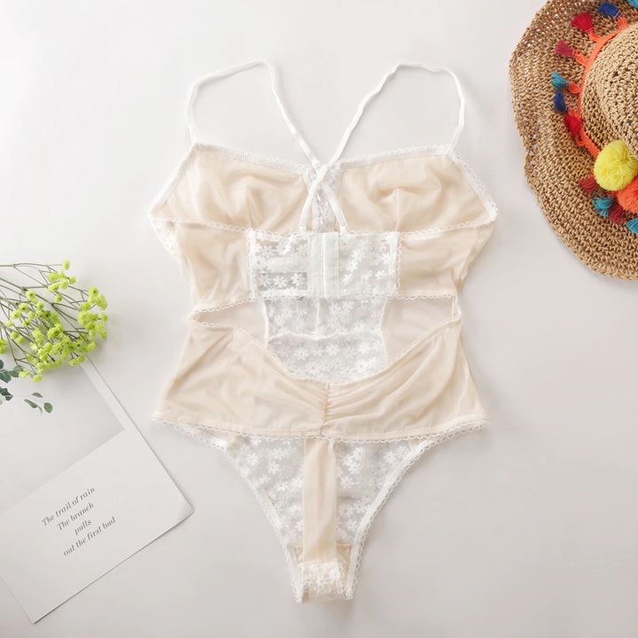Women's Lace With Embroidery Bodysuit