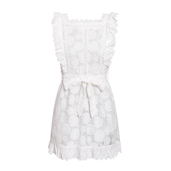 Women's Summer Vintage Ruffled Cotton Lace Short Dress