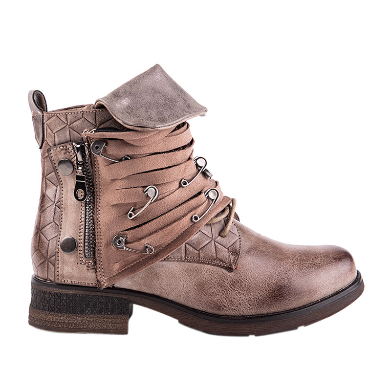 Women's Autumn PU Leather Ankle Boots Decorated With Metal Pins