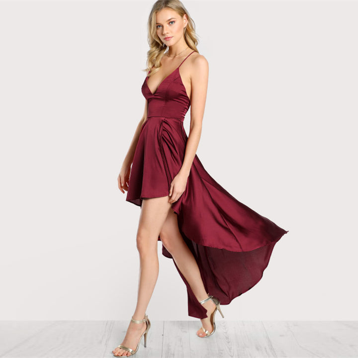 Women's Summer Asymmetrical Deep V-Neck Crisscross Backless Maxi Dress