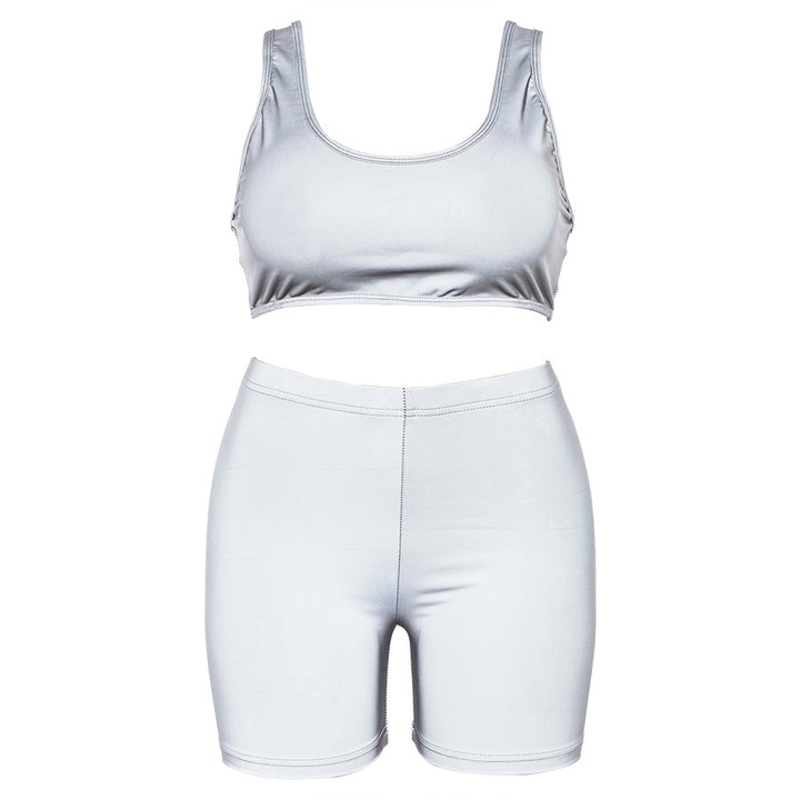 Women's Summer Reflective Fitness Set | Tank Top & Elastic Waist Shorts